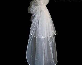 Bridal Veil, Classic Veil, 2-Tier Veil, Fingertip Veil, Ruffle Pouf Veil, Satin Cord Veil, Handmade Veil, Bespoke Veil, Vintage Look Veil