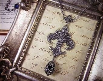 Purple Fleur de Lys Necklace, Fleur de Lis, Marie Antoinette Costume, Renaissance Costume, Gothic Victorian