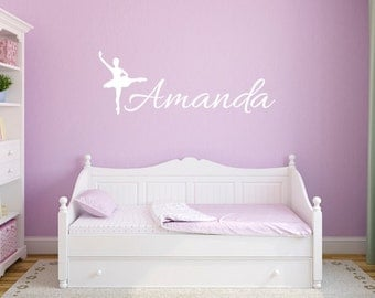 Ballerina wall decals, Name decals, Personalized wall decals, Girls wall decals, Girls room decor, Monogram decals, Wall stickers DB122