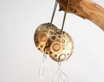 Orbit Earrings, Geometric Stamped Brass Jewelry, Silver, Antiqued Brass Circles, Planets, Rustic Fashion, Dangle Drop Earrings