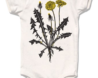 Organic Baby Clothes, Onesie Organic baby one piece Infant organic Dandelion flower bodysuit natural clothes botanical baby girl shower gift