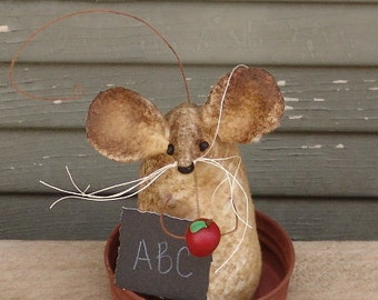 Primitive Teacher Mouse, back to school, teacher gift