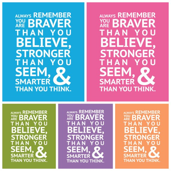 Winnie the Pooh - BRAVER, STRONGER, SMARTER - Instant Download