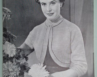 Vintage 1950s Knitting Pattern Women's Bolero Top Jacket cropped style 50s original paper pattern Emu No. 64 UK