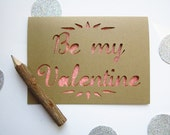 Be My Valentine - Paper Cut Greeting Card - pink