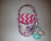 Little Pink Birdie and Hot Pink Chevron - Fabric Easter Basket - Reversible