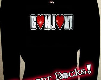 Jon Bon Jovi Band Concert Valentine  Hearts Rhinestone Crystal Shirt Tee Top T bling Love