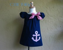 Nautical Dress, Girls Navy Blue Dress, Girl Anchor dress, Baby Nautical Outfit, Girl Birthday Dress, Fully Lined Dress, Made to Order 12M-3T
