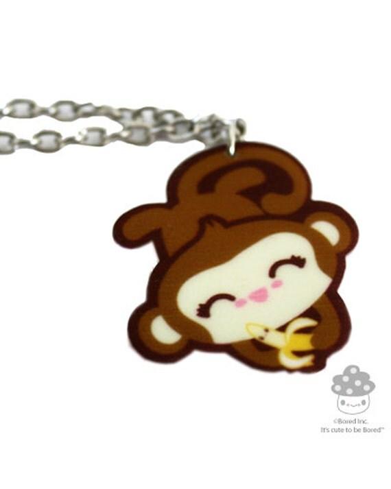 SALE Monkey & Banana Necklace