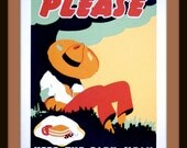 "WPA POSTER: ""Please Keep The Park Clean"" 1930s Giclee Print - Outdoor Wall Art - Art Deco Print - Siesta Poster - Napping Print"