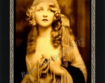 Girl in Browns and Yellows with Striped Scarf and Pearls - Giclee Art Print of Enhanced Vintage Photograph - Gypsy Poster