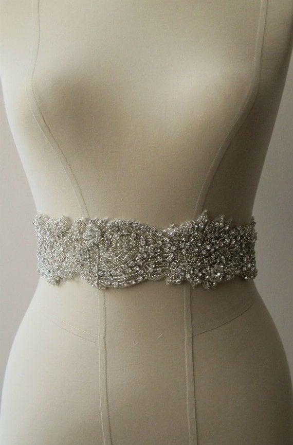 Bridal Rhinestone Belt Wedding Sash 7 cm width Ready to Ship