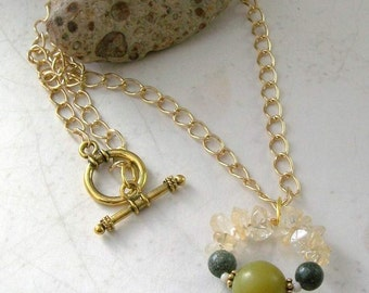 Damara Jade, Citrine Pendant Necklace -Gold Abundance Loop, Handmade OOAK, Free US Shipping, Metaphysical Healing Crystal Jewelry, Good Luck