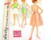 60s Vintage Full Wrap Skirt Pattern Top Blouse Shorts Sewing Mad Men Simplicity 4489 Women Size 12 Bust 32