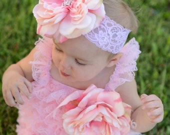 Light Pink Boutique Flower with Rhinestone Bling Center with Pink Feathers on Pink Lace Headband