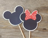 Mickey and Minnie Mouse Party - Set of 24 Red Minnie and Mickey Cupcake Toppers by The Birthday House
