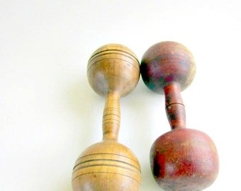 Antique Hand Weights 1920s Wood Dumb Bells Wood Bar Bells Dumbbells