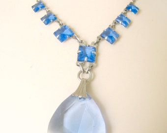 Vintage Blue Crystal Drop Necklace Silver and Blue Brides Necklace 1920s Choker