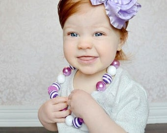 Lavender Double Ruffled Ribbon Boutique Bow or Headband