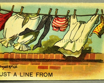 Ca. 1917 Funny Postcard. Just a Line From...
