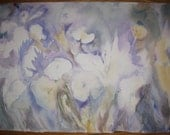 Original Watercolor Mid 1960's - Abstract Lavender Floral- on heavy watercolor paper -15 x 23""