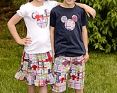 Madras Mickey Inspired Outfit Ruffle Skirt and Tee Sizes 5 - 8