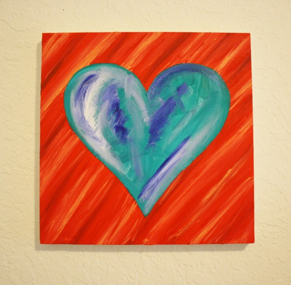HEART No. 12 PAINTING, Teal and Red -- Original Oil Painting on Square Canvas, 12 x 12""