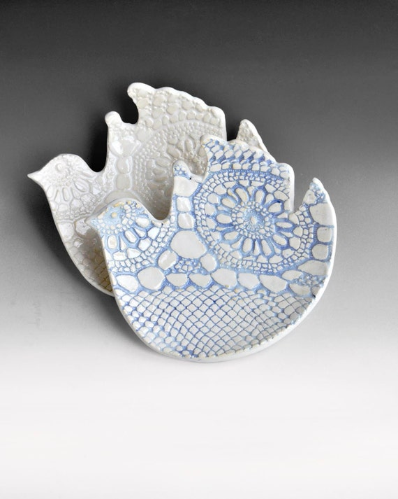 white ceramic plates 2 ceramic bird plates handmade dinnerware wedding decor table setting blue and white