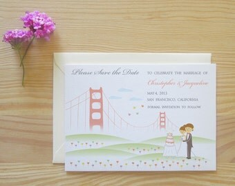 San Francisco Customized Character Save the Date Cards Package - Wedding Cake