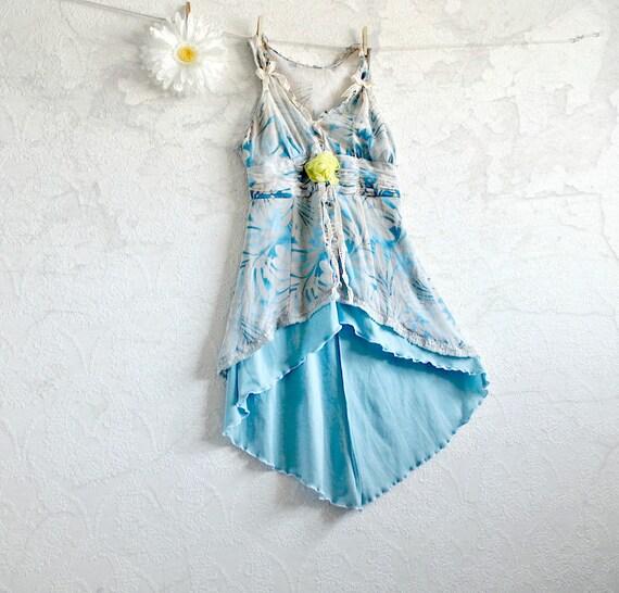 Upcycled Blue Blouse Shabby Chic Top Eco Friendly Women's Long Shirt Lace Tunic Bohemian Clothing Romantic Top Small Medium 'ETTA'