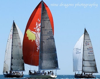 Sailboat Photography, Red Gold Sailboat Print, Nautical Decor, Blue Ocean Art, Goddess Sailboat Art, Coastal Wall Art, Newport RI Print