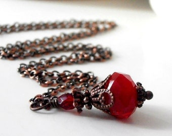 Dark Red Crystal Necklace Beaded Pendant in Antiqued Copper Red Wedding Jewelry Bridesmaid Necklaces Red Jewelry Beaded Necklace Bridal