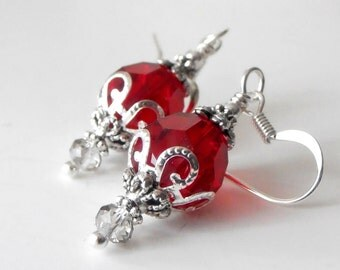 Red Wedding Jewelry, Red Bridesmaid Earrings, Swarovski Crystallized Elements Crystal Dangles in Silver, Crystal Earrings, Bridal Jewelry