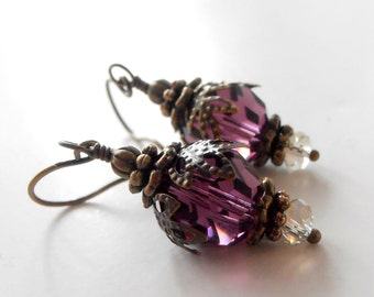Purple Crystal Dangle Earrings Amethyst Swarovski Bridesmaid Jewelry Vintage Style Wedding Jewelry Sets Plum Bridal Party Earrings