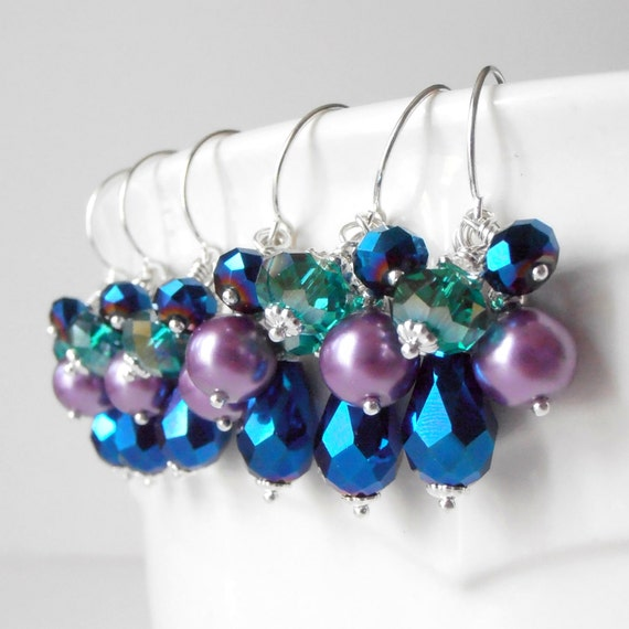 Peacock Bridesmaid Jewelry Beaded Cluster Ear ...