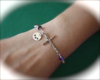 Sideways Cross Bracelet Personalized, Mom Bracelet, Amethyst Bracelet, Sterling Silver Cross Sideways, Gold, Mothers Day Gift