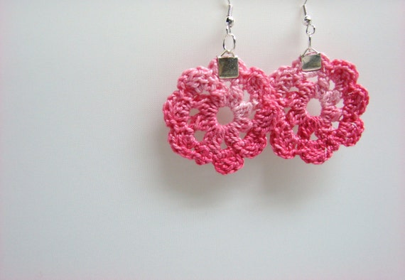 Earrings Small Pink Flowers Cerise Soft Ombre Circle Honeysuckle, READY TO SHIP