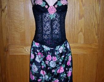 Strapless Dress, Corset Dress, Black Corset Dress, Gypsy Dress, Festival Dress, Floral Corset Dress, size S / 34