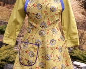 SALE -- 10 Dollars Off Original Price -- Size Large: Everyday Flair Cornflowers Floral Apron -- Pale Green, Lavender Blue and Purple
