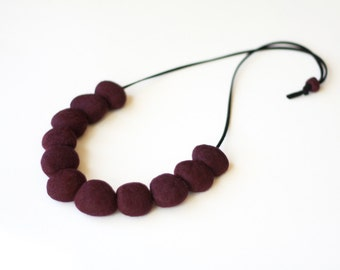 Felted Bead Necklace - Cabernet