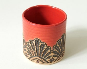 Handmade Moroccan Lace Tumbler in Paprika