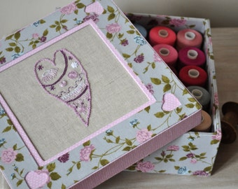 Fabric Covered Hand Embroidered  Box for Sewing, Jewelry, Keepsakes - Cartonnage