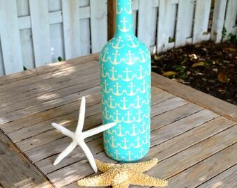 Large Aqua Nautical Anchor Upcycled Glass Bottle