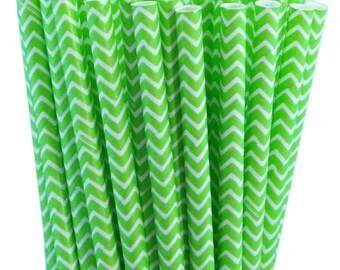 25 Jasmine Green Chevron Stripe Paper Straws with Printable Party Flags PDF File