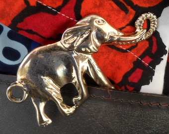 Vintage Elephant Necklace Pendant Large Chunky Charm for Jewelry Making, Crafts or Projects