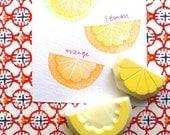 citrus rubber stamp. lemon orange lime hand carved stamp. fruits hand carved rubber stamps. summer craft projects. set of 2