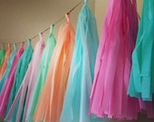 PASTELS ... tissue paper tassel garland // nursery // wedding decoration // easter // birthdays // party decorations