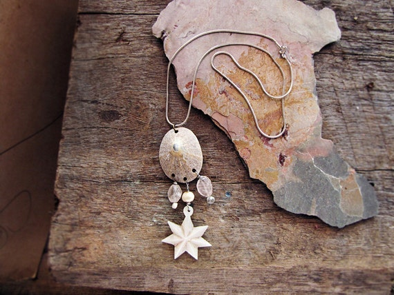 Ocean Star - vintage shell assemblage necklace - mother of pearl - rose quartz - eco friendly