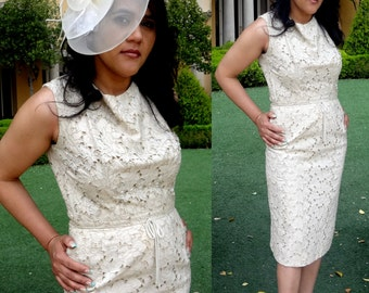 Vintage 60s Ivory Lace Wiggle Dress by Parnes Feinstein  - Mad Men, Rockabilly, Eco Friendly, Pin Up,