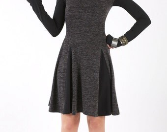 Long Sleeve Short Dress with Godets and Rib Collar